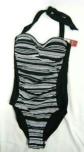 d26ba1007a2 Merona Women's Black & White Stripe One-Piece Swimsuit, X-Small ...