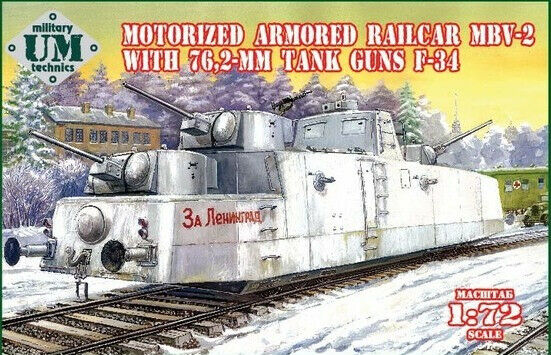 UM-MT 1 72 Motorized Armored Railcar MBV-2 with 76,2mm Tank Guns F-34