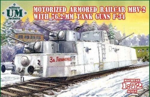 Um-mt 1//72 Motorisiert Gepanzerte Triebwagen MBV-2 mit 76,2mm Tank Waffen F-34
