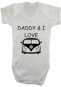 Daddy-amp-I-LOVE-campervan-BODYSUIT-VEST-BABYGROW-ROMPER-GIFT-BABY-CLOTHES