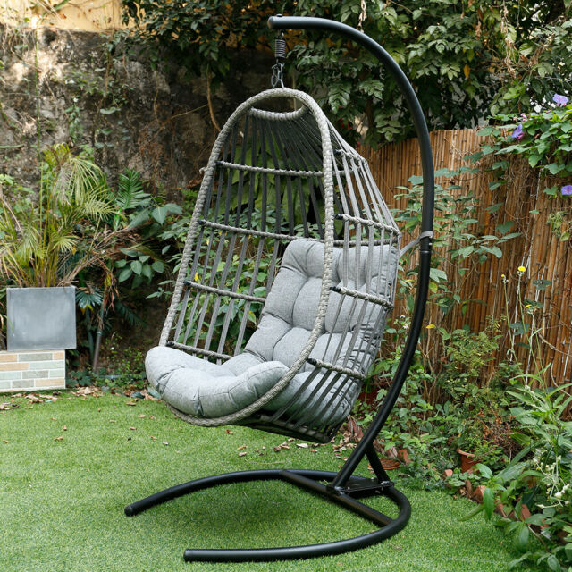 Mid Century Rattan Chair, Outdoor Patio Large Size Hanging Egg Swing Chair Wicker W Stand Porch Ch