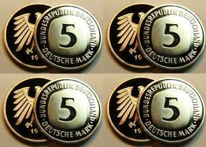 Germany 5 DM Currency Coin 1977 Dfgj 4 Piece Complete Proof