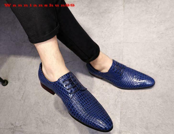 Retro Mens alligator print  pointy toe Formal Business casual Dress shoes