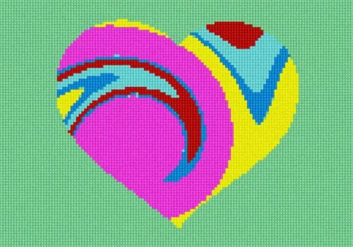 Heart Tie Dye Needlepoint Kit or Canvas Valentine