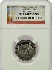 2016-S HARPERS FERRY CLAD QUARTER 25c FIRST RELEASES NGC PF70 ULTRA CAMEO