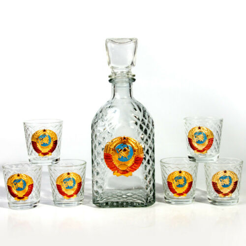 6 Shot Glasses and Glass Decanter w// Lid USSR Soviet Coat of Arms