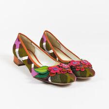 Miu Miu Multicolor Canvas Print Flower Applique Square Toe Low Heel Pump SZ 39.5