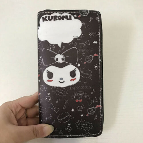 "Girl/'s Cute Anime Kuromi Wallet Zipper Coin Purse 6/"" Phone Bag Christmas Gift"