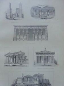 ANTIQUE-PRINT-DATED-1880-ARCHITECTURE-ENGRAVING-THE-ACROPOLIS-ATHENS-GREECE-ART