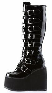 815 Knee Goth Details Swing Patent Boot 5 Multi About Buckle Demonia 5 Black 7yf6bYgv