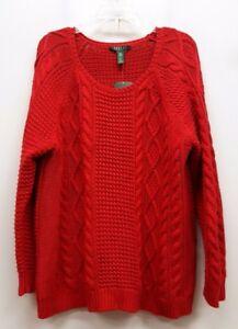 tricot rouge de Lauren torsadé en taille 3x pull Pull Ralph xPfZ4