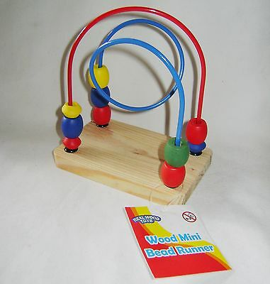NEW COLOURFUL WOODEN MINI BEAD RUNNER FRAME TOY GAME TODDLER BLUE AND RED RSW