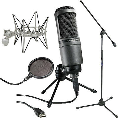 Audio Technica AT2020USB Studio Mic w/ Boom Stand, Shockmount & Pop Filter
