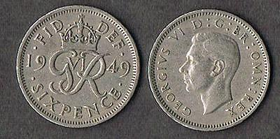 BRITISH WEDDING SIXPENCE KING GEORGE VI 1949 UK ENGLAND