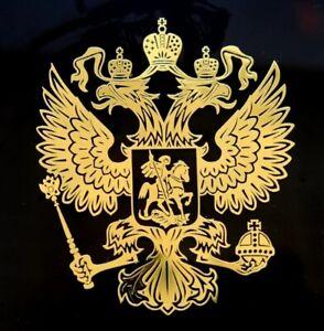 Russland-Aufkleber-GROSS-3D-in-Gold-Russia-Putin-Wappen-Russischer-Adler-Sticker