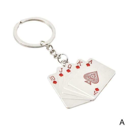 Poker Hand Spielkarten Royal Flush Schlüsselanhänger Metall Schlüsselanhäng Y5M1