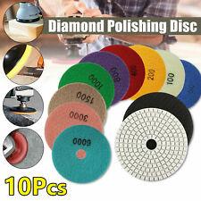 10pc Wet Dry Diamond Polishing Pads 4 Inch Set Kit For Marble Concrete Granite