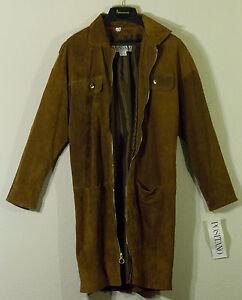 Cappotto S giacca Pelle Brand pelle New vera Positano scamosciata marrone marrone scuro Tag qz678
