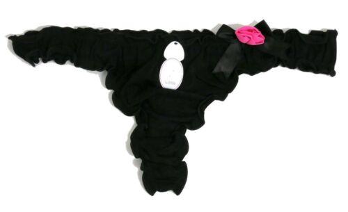 LA SENZA UNE ROSE POUR VOUS Noir /& Rose à Volants Bord String Taille UK 12-14