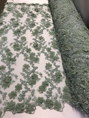 Bridal Fabric Mint Lace 3D FlowerFloral Embroidered Mesh Pearls By The Yard