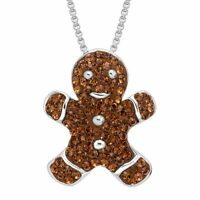 Crystaluxe Gingerbread Man Cookie Pendant with Swarovski Crystals (Sterling Siver)