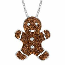 Crystaluxe Gingerbread Man Cookie Pendant with Swarovski Crystals Sterling Siver