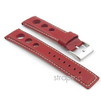 StrapsCo GT Rally Racing Watch Strap Leather Mens Band holes 20mm 22mm 24mm