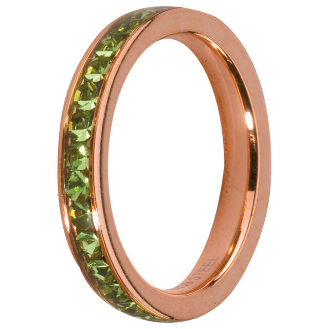 Melano Ring Front Ring Additional Ring Rosé Size 58 M 01r4993 RG Peridot Green