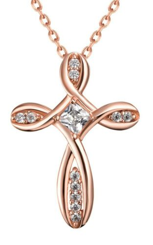 ROSE GOLD CROSS TWIST Valentines Gift Present Free Shipping PENDANT NECKLACE