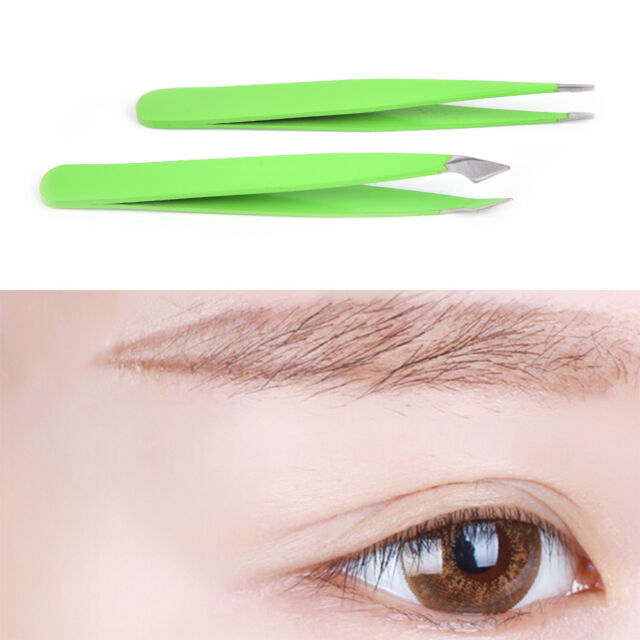 2pcsset Green Hair Removal Eyebrow Tweezer Eye Brow Clips Beauty