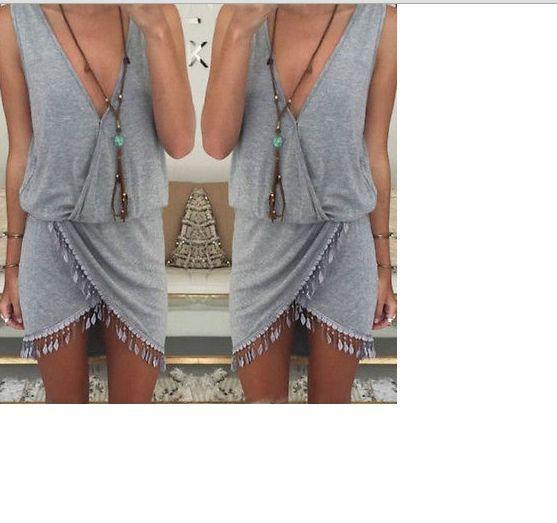 Women Ladies Boho V-Neck Summer Beach Sleeveless Party Evening Mini Wrap Dress