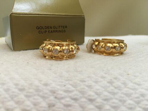 Vintage 1997 Avon Golden Glitter Clip Earrings