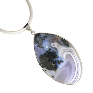 Boho-Gemstone-Dendritic-Agate-Pendant-Necklace-A22-9-Leather-Cord-Free-Gift-Box