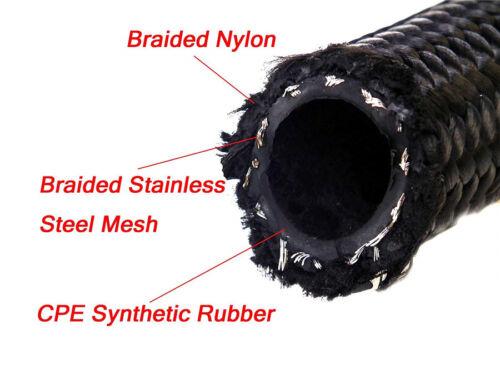 Autos SUV Engine Oil Gas Radiator Nylon Steel Braided Hose AN16 1M//3.3ft 1500PSI