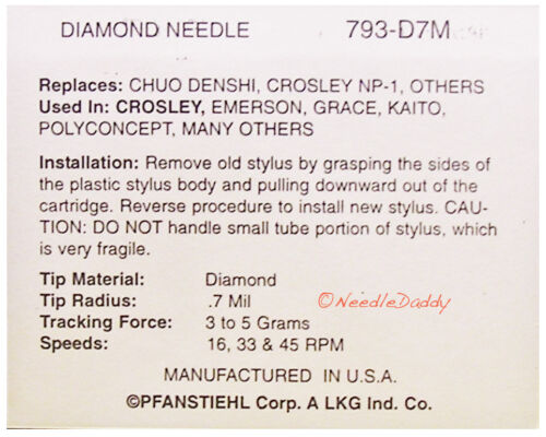 IMPROVED TURNTABLE NEEDLE 4 Crosley Archiver CR-6001A CR 6001A CR6001A