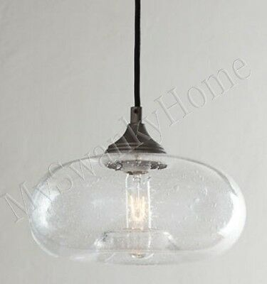 Horchow SEEDED GLASS Mini Pendant Industrial Hanging Light Torus BUBBLE Antique