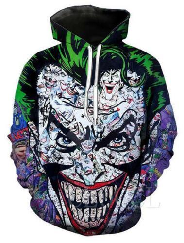 Fashion WomensMens 3D Print Joker Clown Funny Hoodie Sweatshirt Pullover T-Shirt