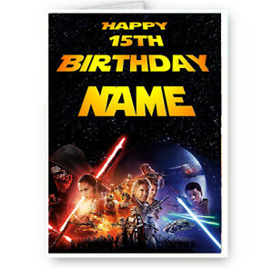 Personalised Name Star Wars Happy Birthday Card With Envelope Ebay