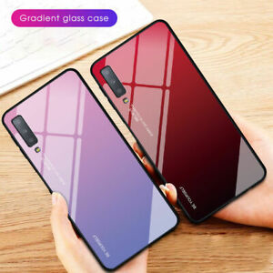 Cell Phone Accessories Shockrpoof Gradient Tempered Glass Case Cover For Samsung A6 A8 Plus A7 A9 2018