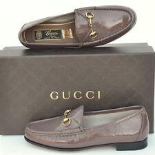 GUCCI New Womens Flats Loafers sz 35.5 - 5.5 Leather Designer Horsebit Shoes