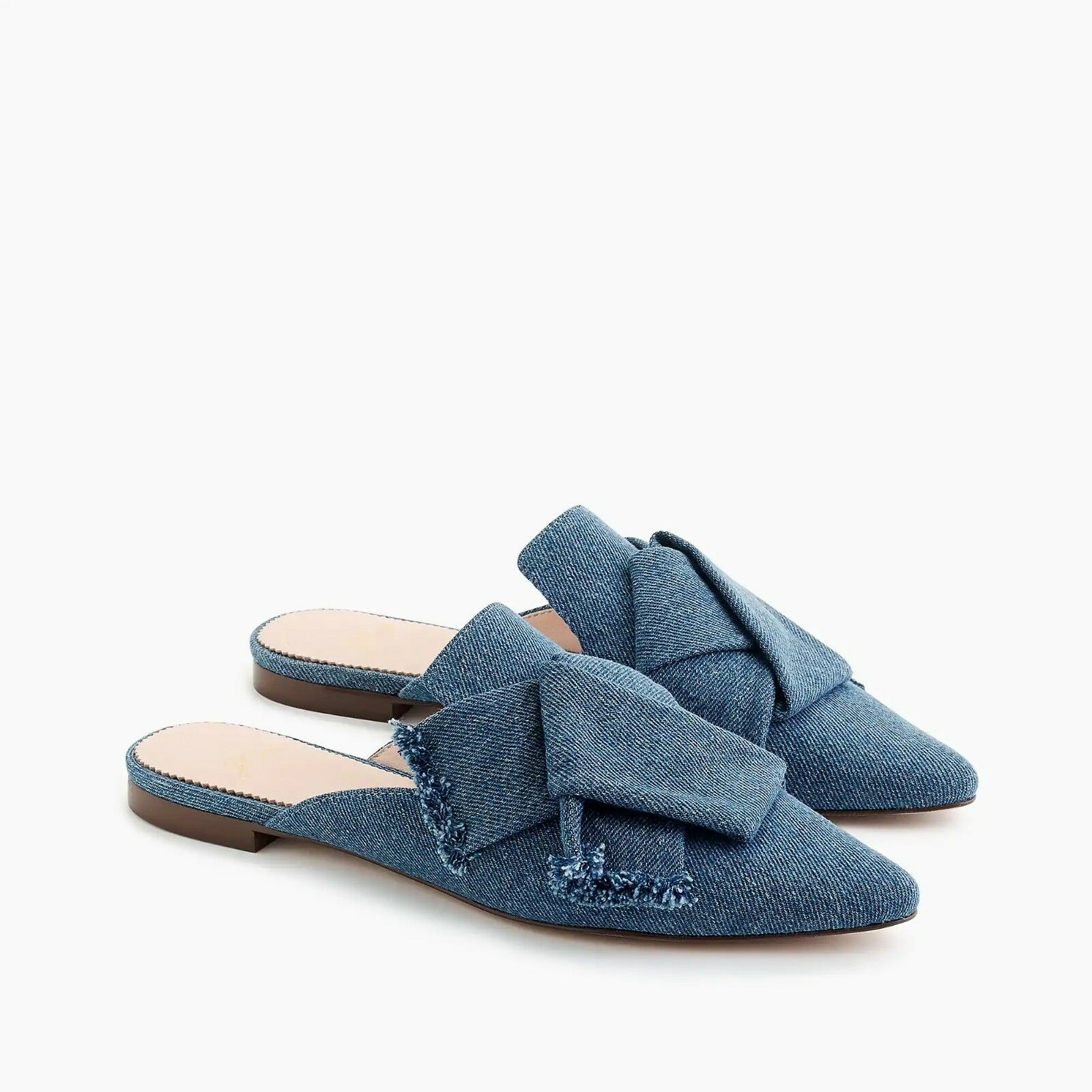New in Box J. Crew Wouomo Pointed-Toe Slides in Denim - Icy Pool - Dimensione 6.5
