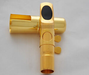 Top-Jazz-Metal-Mouthpiece-For-Bb-Tenor-Saxophone-Sax-Gold-plated-MPC-Size-5-12
