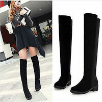 Autumn Winter Women Lady Wide LEG Calf Stretch Shoes Over Knee Thigh High Boots