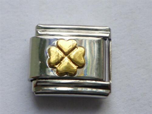 SILVER GOLD CLOVER ITALIAN CLASSIC CHARM fits all 9mm Italian bracelet SI6