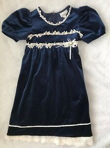 855a7766c831 Bonnie Jean Girls Dress Size 10 Navy Blue Velvet Floral Formal White ...