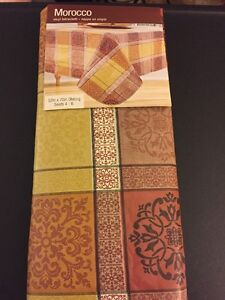 Image Is Loading Morocco Tuscan Plaid Vinyl Tablecloth 52 X 52