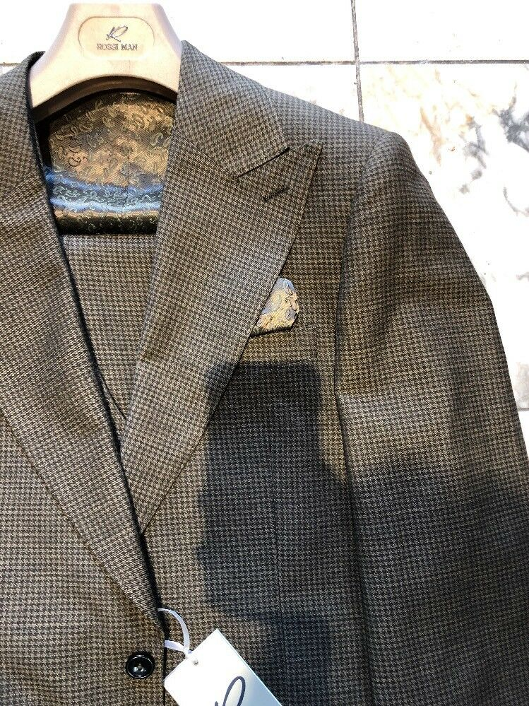 NWT ROSSI MAN Men's Olive color Wool Suit Modern Fit Two Buttons Size 54L
