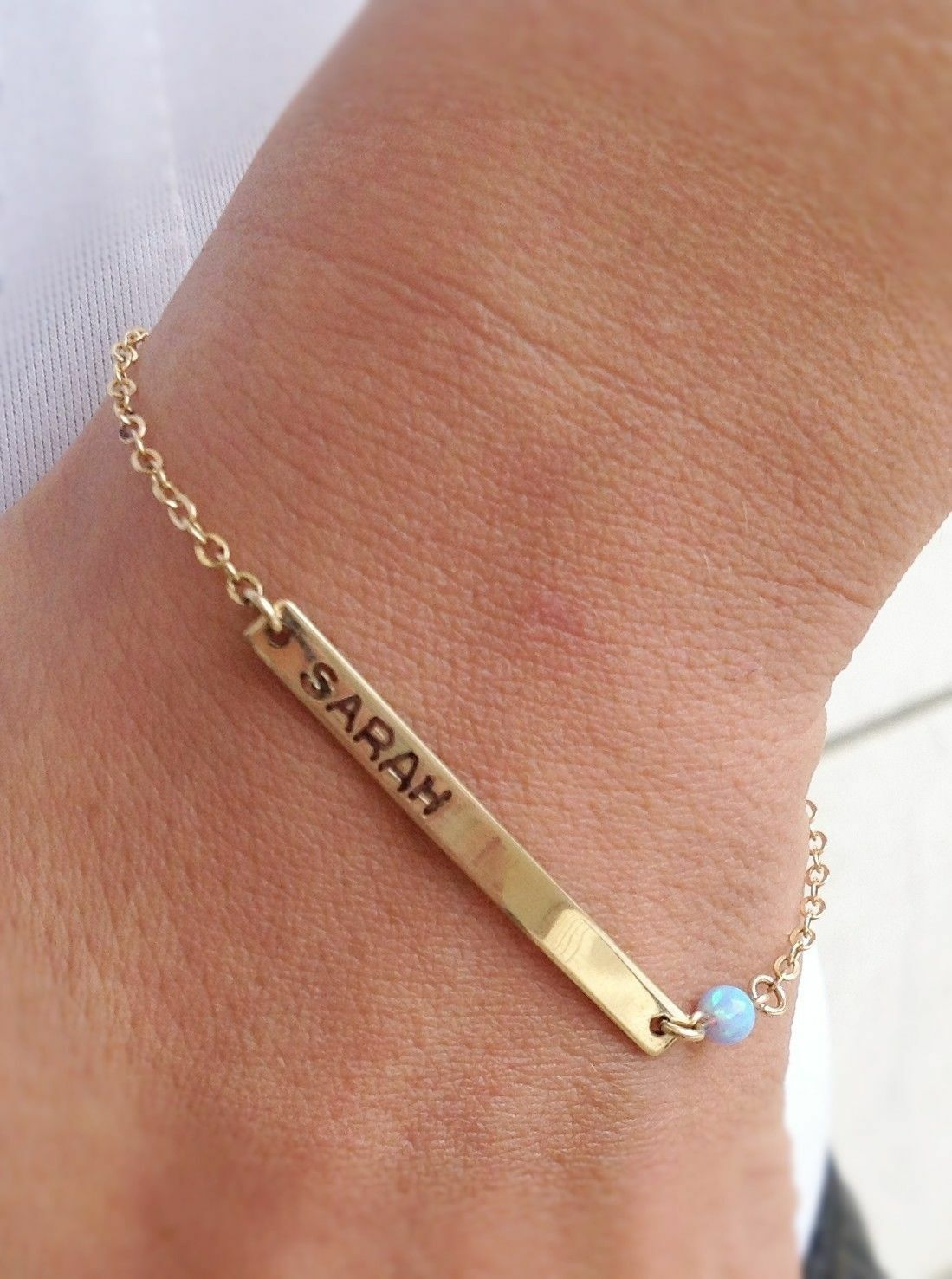 gold bracelet, initial bracelet, personalized bracelet, opal bracelet, B006