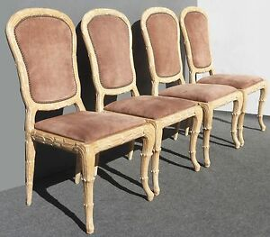 Four-Vintage-DESIGNER-Dining-Room-CHAIRS-1975-Ornate-Frame-Suede-French-Louis