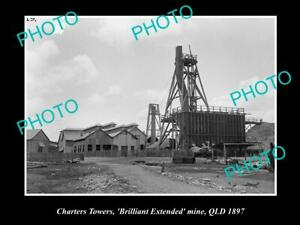 OLD-POSTCARD-SIZE-PHOTO-OF-CHARTERS-TOWERS-QLD-BRILLIANT-EXTENDED-MINE-1897